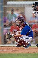 Ty Leatherwood during the WWBA World Championship at the Roger Dean Complex on October 18, 2018 in Jupiter, Florida.  Ty Leatherwood is a catcher from Collierville, Tennessee who attends Collierville High School.  (Mike Janes/Four Seam Images)