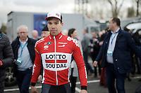 race winner Jens Debusschere (BEL/Lotto-Soudal) escorted to the podium<br /> <br /> 71st Dwars door Vlaanderen (1.HC)