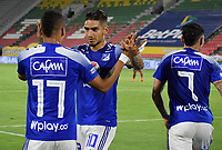 IBAGUE - COLOMBIA, 06-10-2020: Ayron del Valle del Millonarios celebra después de anotar el segundo gol de su equipo durante partido entre Deportes Tolima y Millonarios por la fecha 12 de la Liga BetPlay DIMAYOR 2020 jugado en el estadio Manuel Murillo Toro de la ciudad de Ibagué. / Ayron del Valle of Millonarios celebrates after scoring the second goal of his team during match between Deportes Tolima and Millonarios for the date 12 as part BetPlay DIMAYOR League 2020 played at Manuel Murillo Toro stadium in Ibague city.  Photo: VizzorImage / Joan Stiven Orjuela / Cont