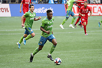 SEATTLE, WA - NOVEMBER 10: Kelvin Leerdam #18 of the Seattle Sounders FC runs with the ball during a game between Toronto FC and Seattle Sounders FC at CenturyLink Field on November 10, 2019 in Seattle, Washington.