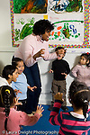Education preschool 3-4 year olds vertical circle time with female teacher song with hand motions
