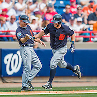 5 March 2016: Detroit Tigers catcher Bryan Holaday rounds the bases after hitting his second home run of the game, a 2-run shot to left field, during a Spring Training pre-season game against the Washington Nationals at Space Coast Stadium in Viera, Florida. The Tigers fell to the Nationals 8-4 in Grapefruit League play. Mandatory Credit: Ed Wolfstein Photo *** RAW (NEF) Image File Available ***