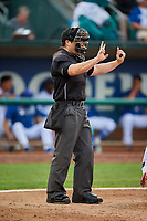 Umpire Nic Schmittou handles the calls behind the plate during the game between the Ogden Raptors and the Grand Junction Rockies at Lindquist Field on September 9, 2019 in Ogden, Utah. (Stephen Smith/Four Seam Images)