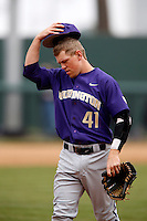 Andrew Ely #41 of the Washington Huskies during a game against the UCLA Bruins at Jackie Robinson Stadium on March 17, 2013 in Los Angeles, California. (Larry Goren/Four Seam Images)