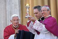 Pope Benedict XVI vescovo di Frascati, mons. Raffaello Martinelli,celebrates mass in St.Peter square in Frascati on the outskirts of Rome on July 15, 2012.