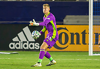 CARSON, CA - OCTOBER 14: Jonathan Klinsmann #33 GK of Los Angeles Galaxy looks downfield for an open teammate during a game between San Jose Earthquakes and Los Angeles Galaxy at Dignity Heath Sports Park on October 14, 2020 in Carson, California.
