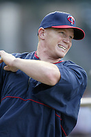 Bobby Kielty of the Minnesota Twins before a 2002 MLB season game against the Los Angeles Angels at Angel Stadium, in Anaheim, California. (Larry Goren/Four Seam Images)