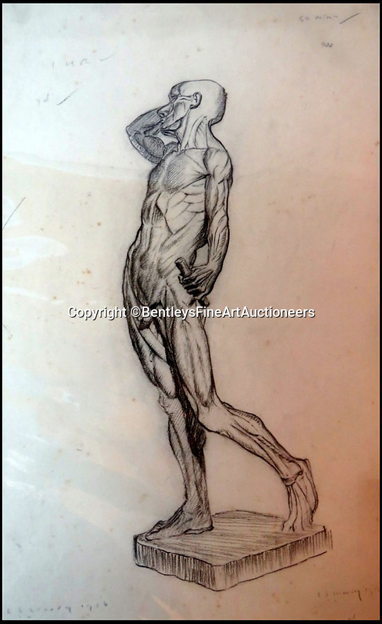 BNPS.co.uk (01202) 558833Pic: BentleysFineArtAuctioneers/BNPS<br /> <br /> Classical style male nude.<br /> <br /> Newly discovered collection reveals that LS Lowry painted a lot more than just matchstick men and matchstick cats and dogs...<br /> <br /> The never-seen-before collection of drawings by the famous Lancashire artist are a far cry from his iconic matchstick figures and have been snapped up by avid collectors for almost £90,000.<br /> <br /> The mostly nude studies show a different side of the Salford artist, whose urban scenes often sell for millions of pounds, and demonstrate that despite being dubbed a 'naive Sunday painter' he had considerable talent for drawing people.<br /> <br /> The 19 pictures are mostly signed and dated to 1911 to 1919, when Lowry was studying art in his spare time before he developed his signature style.<br /> <br /> The seller, who wants to remain anonymous, inherited the portfolio from their grandfather and did not believe they could be Lowry when they saw the signature.