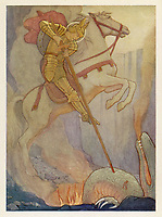 Crusader dragon killer & saint  also known as George of Coventry / Cayley Robinson in Saints and Their Stories / ?