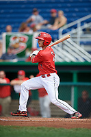 Batavia Muckdogs right fielder Michael Donadio (7) hits into a fielder's choice during a game against the Auburn Doubledays on September 2, 2018 at Dwyer Stadium in Batavia, New York.  Batavia defeated Auburn 5-4.  (Mike Janes/Four Seam Images)