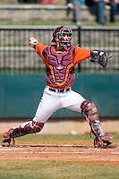 Catcher Steve Domecus #26 of the Virginia Tech Hokies makes a throw to second base at English Field March 27, 2010, in Blacksburg, Virginia.  Photo by Brian Westerholt / Four Seam Images
