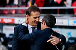FC Barcelona's coach Ernesto Valverde and Real Madrid's coach Julen Lopetegui during La Liga match between FC Barcelona and Real Madrid at Camp Nou Stadium in Barcelona, Spain. October 28, 2018. (ALTERPHOTOS/A. Perez Meca)