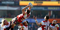 Photo: Richard Lane/Richard Lane Photography. Gloucester Rugby v Wasps. Aviva Premiership. 24/02/2018. Gloucester's Ed Slater reaches for a high ball.