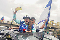 BOGOTÁ – COLOMBIA, 20-06-2021: Hinchas de Millonarios por la final vuelta entre Millonarios F.C. y Deportes Tolima como parte de la Liga BetPlay DIMAYOR I 2021 jugado en el estadio Nemesio Camacho El Campin de la ciudad de Bogotá. / Fans of Millonarios cheer for their team during second leg final match between Millonarios F.C. and Deportes Tolima as part of BetPlay DIMAYOR League I 2021 played at Nemesio Camacho El Campin Stadium in Bogota city. Photos: VizzorImage / Daniel Garzon / Cont.