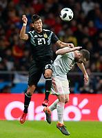 Spain's Daniel Carvajal (r) and Argentina's Maximiliano Meza during international friendly match. March 27,2018.(ALTERPHOTOS/Acero) /NortePhoto.com NORTEPHOTOMEXICO