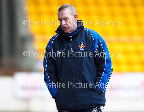 St Johnstone v Kilmarnock.....09.03.13      SPL.Killie manager Kenny Shiels turns away from the game.Picture by Graeme Hart..Copyright Perthshire Picture Agency.Tel: 01738 623350  Mobile: 07990 594431