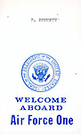 """""""WELCOME ABOARD Air Force One"""" White House Air Force One seat assignment pass,"""