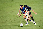 Carlos Vela of Los Angeles FC (USA) and Sebastian Caceres of Club America (MEX) in action during their CONCACAF Champions League Semi Finals match at the Orlando's Exploria Stadium on 19 December 2020, in Florida, USA. Photo by Victor Fraile / Power Sport Images