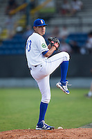 Burlington Royals starting pitcher Cristian Castillo (43) warms up in the bullpen prior to the game against the Bluefield Blue Jays at Burlington Athletic Stadium on June 28, 2016 in Burlington, North Carolina.  The Royals defeated the Blue Jays 4-0.  (Brian Westerholt/Four Seam Images)