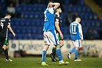 St Johnstone v Hibs…16.03.18…  McDiarmid Park    SPFL<br />Steven MaClean holds his head after a late chance to win the game was missed by George Williams<br />Picture by Graeme Hart. <br />Copyright Perthshire Picture Agency<br />Tel: 01738 623350  Mobile: 07990 594431