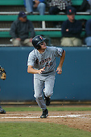 Sergio Pedroza of the Cal State Fullerton Titans bats during a 2004 season game against the Loyola Marymount Lions at Loyola Marymount in Los Angeles, California. (Larry Goren/Four Seam Images)