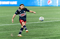 FOXBOROUGH, MA - OCTOBER 7: Tommy McNamara #26 of New England Revolution passes the ball during a game between Toronto FC and New England Revolution at Gillette Stadium on October 7, 2020 in Foxborough, Massachusetts.