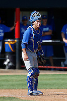 Jackson Morrow #14 of the UC Santa Barbara Gauchos during a game against the Cal State Northridge Matadors at Matador Field on May 11, 2013 in Northridge, California. UC Santa Barbara defeated Cal State Northridge, 6-2. (Larry Goren/Four Seam Images)