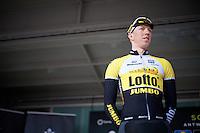 team leader Sep Vanmarcke (BEL/LottoNL-Jumbo) on the start podium<br /> <br /> 103rd Scheldeprijs 2015