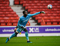 3rd October 2020; City Ground, Nottinghamshire, Midlands, England; English Football League Championship Football, Nottingham Forest versus Bristol City; Brice Samba of Nottingham Forest throws the ball out