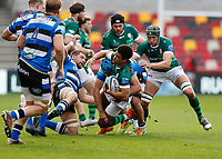 27th March 2021; Brentford Community Stadium, London, England; Gallagher Premiership Rugby, London Irish versus Bath; Ben Loader of London Irish is tackled by Zach Mercer of Bath