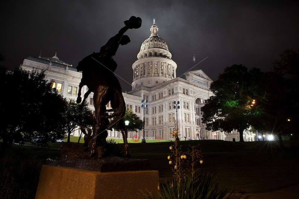 """The bronze statue was presented to the State of Texas, """"native home of the cowboy."""" by the notable American sculptor Constance Whitney Warren. It represents the artist's portrayal of a typical Texas cowboy riding a rearing horse, and is a tribute to the """"rough and romantic riders of the range."""""""