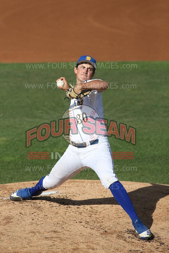 Michael McGreevy (30) of the UC Santa Barbara Gauchos pitches against the Cal Poly Mustanges at Caesar Uyesaka Stadium on April 30, 2021 in Santa Barbara, California. (Larry Goren/Four Seam Images)