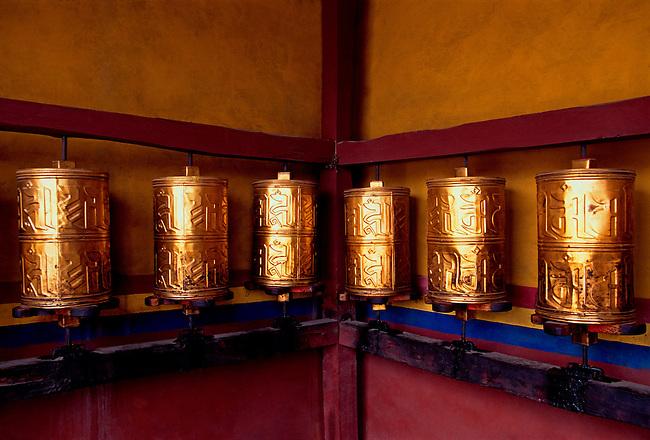 Prayer wheels at Trandruk Temple Monastery, Tibet Autonomous Region, China, Asia