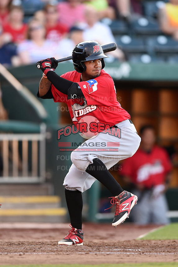 Frisco Rough Riders outfielder Teodoro Martinez (28) at bat during a game against the Springfield Cardinals on June 1, 2014 at Hammons Field in Springfield, Missouri.  Springfield defeated Frisco 3-2.  (Mike Janes/Four Seam Images)