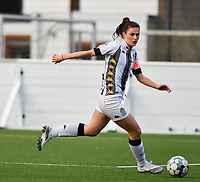Noemie Fourdin (22) of Sporting Charleroiin action during a female soccer game between Sporting Charleroi and KRC Genk on the 4 th matchday in play off 2 of the 2020 - 2021 season of Belgian Scooore Womens Super League , friday 30 th of April 2021  in Marcinelle , Belgium . PHOTO SPORTPIX.BE | SPP | Jill Delsaux