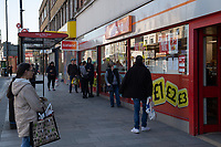 Shoppers outside Iceland in Sidcup, Kent during the Coronavirus (COVID-19) outbreak where travel has been restricted across the country at Sidcup, England on 25 March 2020. Photo by Alan Stanford/PRiME Media Images