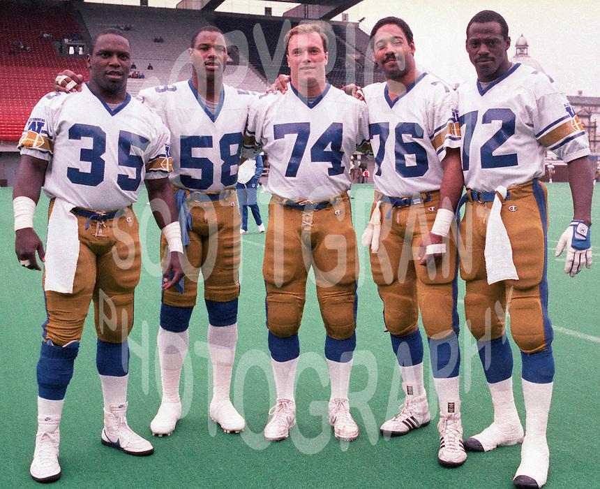 Tyrone Jones, James West, Vernon Pahl, Darrell Patterson, Delbert Fowler, Winnipeg Blue Bombers. Photo Scott Grant