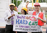 International youth advocate the need for hard caps on the emissions of industrial countries. United Nations Climate Change Conference, Dec 4, 2007. L-R Kartikeya Singh (SustainUs), Emily Lawrence (Aus), Jeff Beyer (CYD). (©Robert vanWaarden, Nusa Dua, Indonesia, Dec 5, 2007)