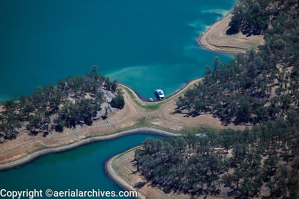 aerial photograph of a docked houseboat western shores of Lake Berryessa, Napa County, California