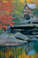 Red maple and Glade Creek Grist Mill<br /> Babcock State Park<br /> Allegheny Mountains<br /> West Virginia