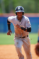 GCL Marlins shortstop Marcos Rivera (10) running the bases during a game against the GCL Mets on August 12, 2016 at St. Lucie Sports Complex in St. Lucie, Florida.  GCL Marlins defeated GCL Mets 8-1.  (Mike Janes/Four Seam Images)