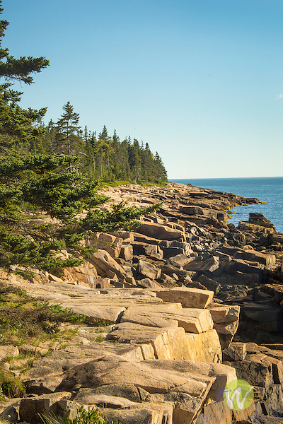Acadia National Park, Schoodic Point. Big Moose Island. Mount Desert Narrows and shoreline.