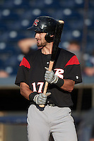 Richmond Flying Squirrels center fielder Steven Duggar (17) at bat during a game against the Akron RubberDucks on July 26, 2016 at Canal Park in Akron, Ohio .  Richmond defeated Akron 10-4.  (Mike Janes/Four Seam Images)