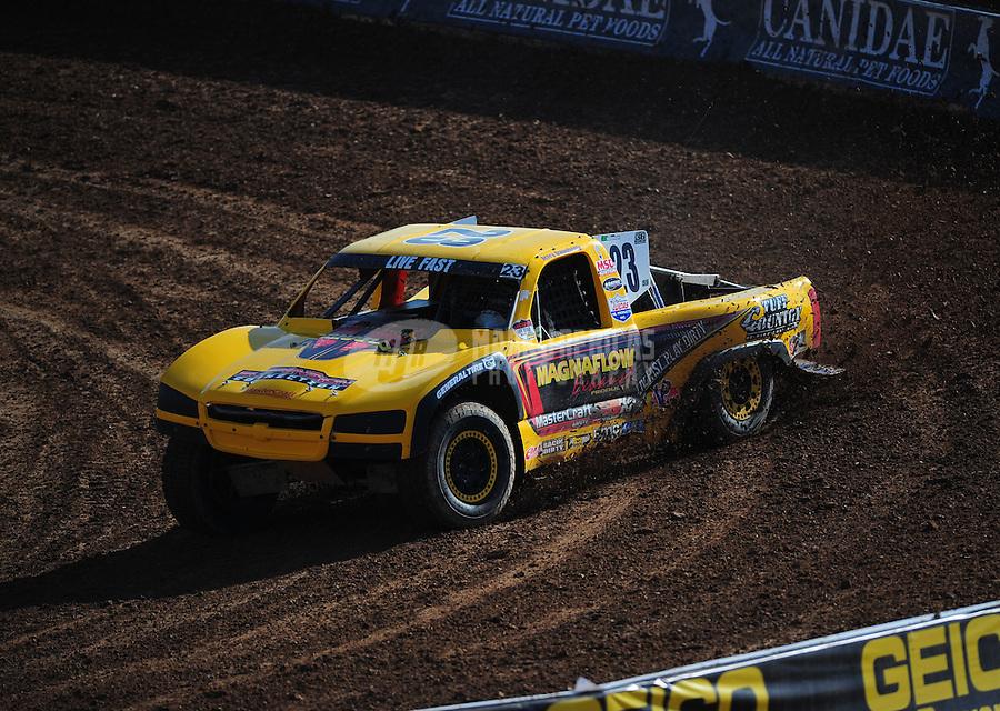 Dec. 10, 2011; Chandler, AZ, USA;  LOORRS pro 4 unlimited driver Jerry Daugherty during round 15 at Firebird International Raceway. Mandatory Credit: Mark J. Rebilas-
