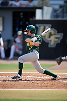 Siena Saints shortstop Devan Kruzinski (12) follows through on a swing during a game against the UCF Knights on February 17, 2019 at John Euliano Park in Orlando, Florida.  UCF defeated Siena 7-1.  (Mike Janes/Four Seam Images)