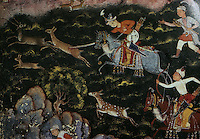 "Mughal India:  ""A Prince Hunting"" c. 1550-1555. The young Akbar in the act of killing an antelope with his sword.  AKBAR'S INDIA."