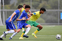 Noah Karunaratne of Lower Hutt AFC competes for the ball with Sefa Mamea-Hind of Petone FC during the Central League Football - Petone FC v Lower Hutt AFC at Petone Memorial Park, Lower Hutt, New Zealand on Friday 2 April 2021.<br /> Copyright photo: Masanori Udagawa /  www.photosport.nz