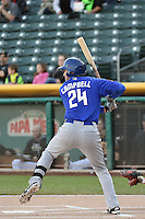 Eric Campbell (24) of the Las Vegas 51s at bat against the Salt Lake Bees at Smith's Ballpark on May 8, 2014 in Salt Lake City, Utah.  (Stephen Smith/Four Seam Images)