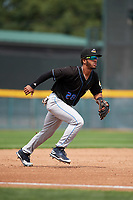 Akron RubberDucks third baseman Ivan Castillo (28) during a game against the Erie SeaWolves on August 27, 2017 at UPMC Park in Erie, Pennsylvania.  Akron defeated Erie 6-4.  (Mike Janes/Four Seam Images)