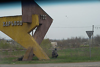 One of the many check points at the entrance to Slavyansk city